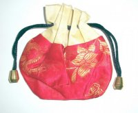 Yellow and Red Dragon + Lotus Flower Drawstring Pouch