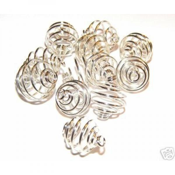 10mm Silver Spiral Cages For Gemstones + Crystals X 50