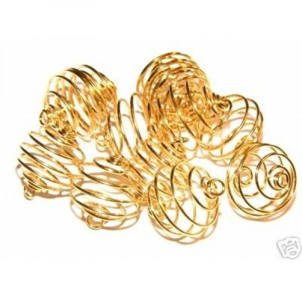 14mm Gold Spiral Cages For Gemstones + Crystals X 50