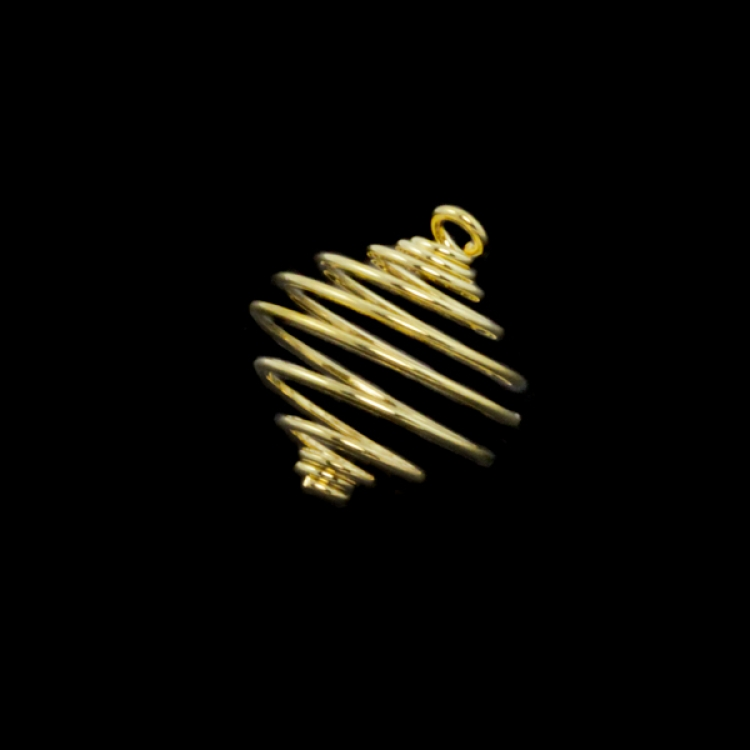 14mm Gold Spiral Cages For Gemstones + Crystals X 12