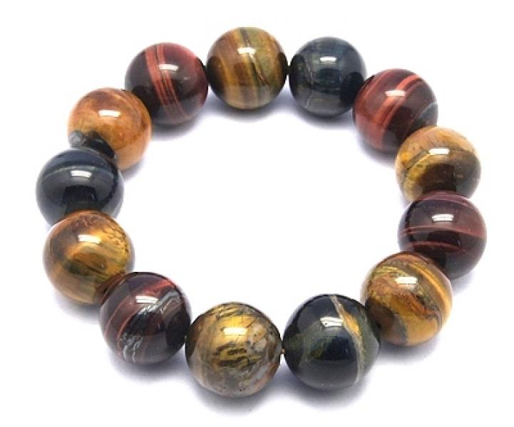 16mm Red, Gold, Blue Tigers Eye Gemstone Power Bracelet