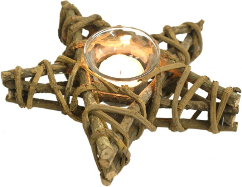 Medium Wooden Pentagram Candle Holder