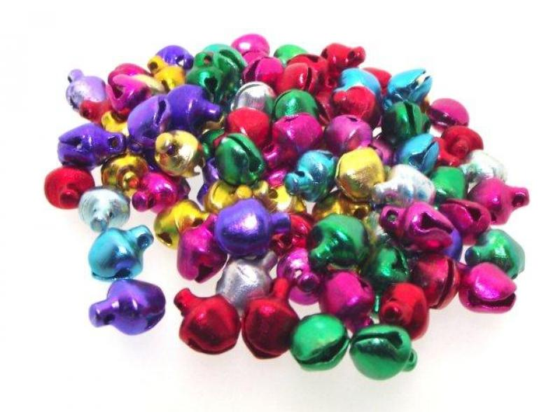 6mm Colourful Aluminium Jingle Bells Pack of 100