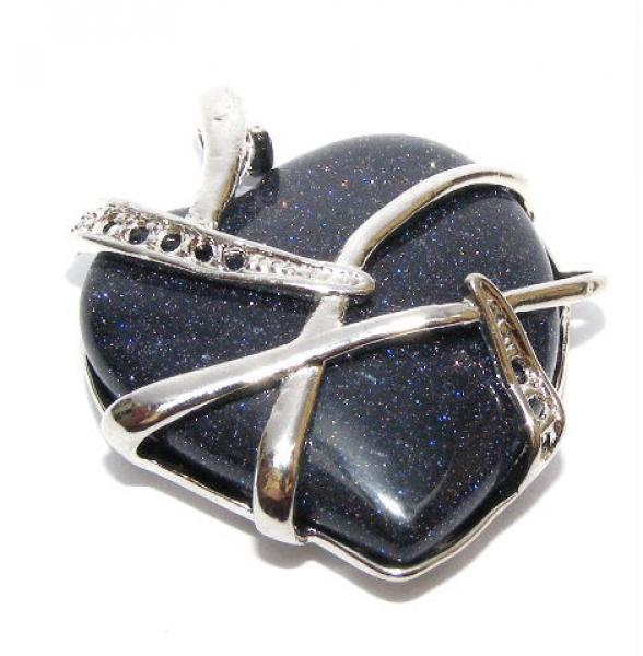 Abstract Bluestone Heart Pendant