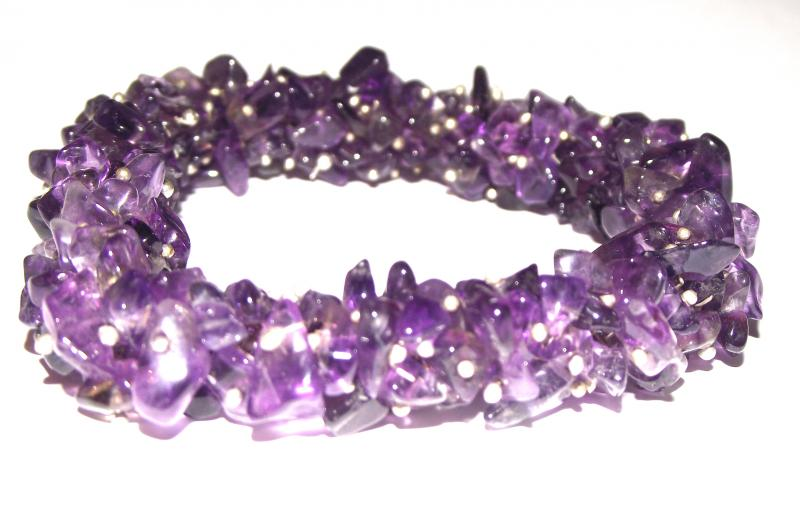 Amethyst Gemstone Fused Chip Bracelet