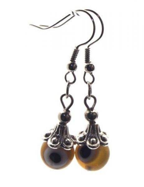 Amber Coloured Evil Eye Lampwork Glass Earrings