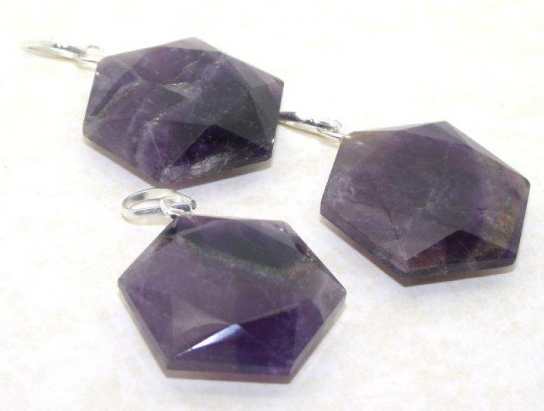 Amethyst Gemstone Crystal Star of David Cut Pendant