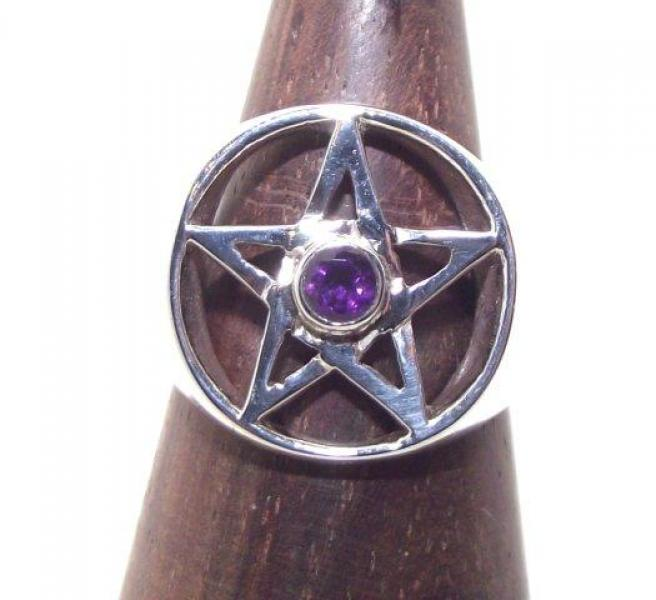Amethyst Pentacle Gemstone Ring Size T