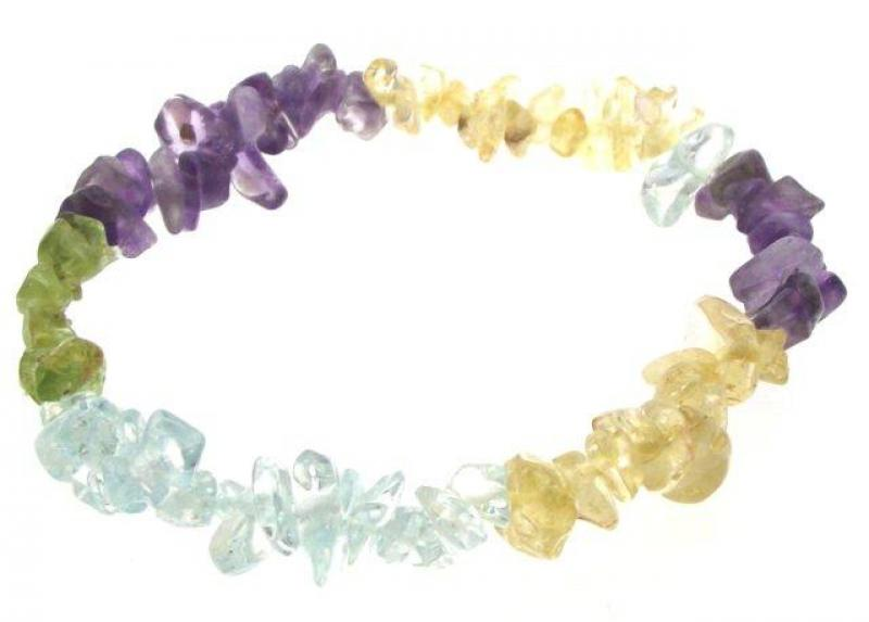 Amethyst, Aquamarine, Citrine and Peridot Chip Bracelet
