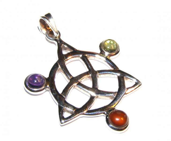 Assorted Gemstone Triquetra Pendant 10