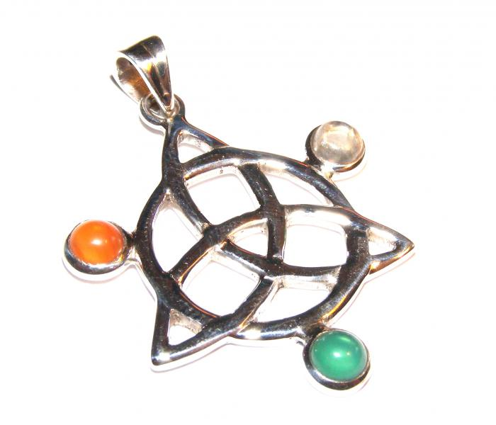 Assorted Gemstone Triquetra Pendant 7
