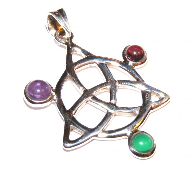 Assorted Gemstone Triquetra Pendant 9