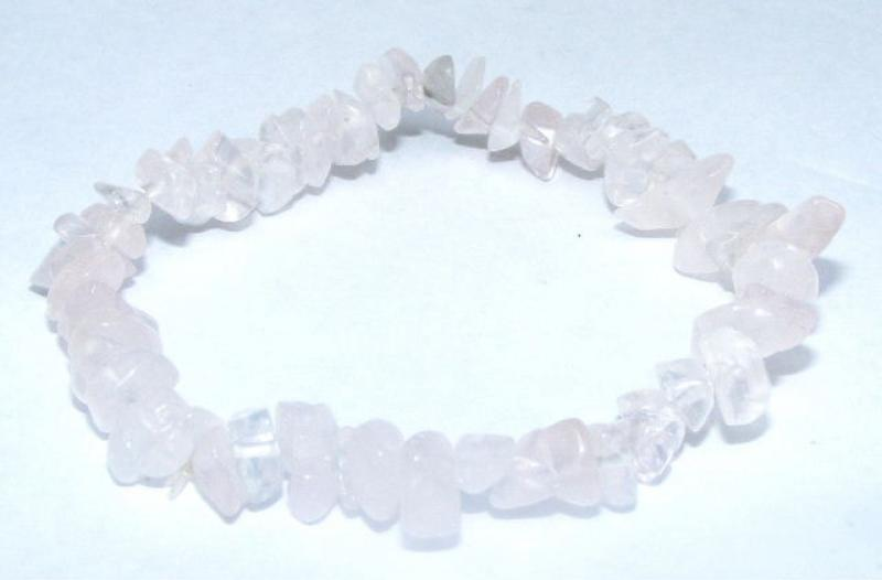 Rose Quartz Gemstone Chip Bracelet - B
