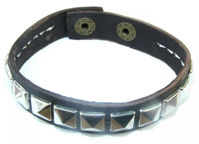 Brown Leather Studded Bracelet