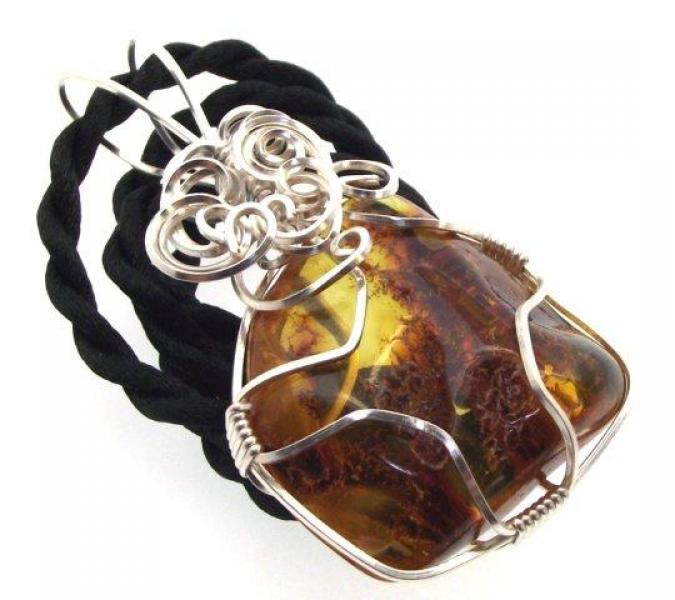 Baltic Amber Wire Wrapped Pendant Design 1
