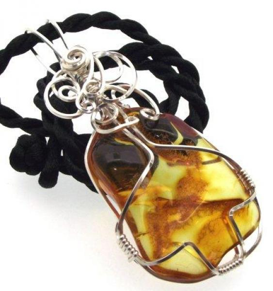Baltic Amber Wire Wrapped Pendant Design 3