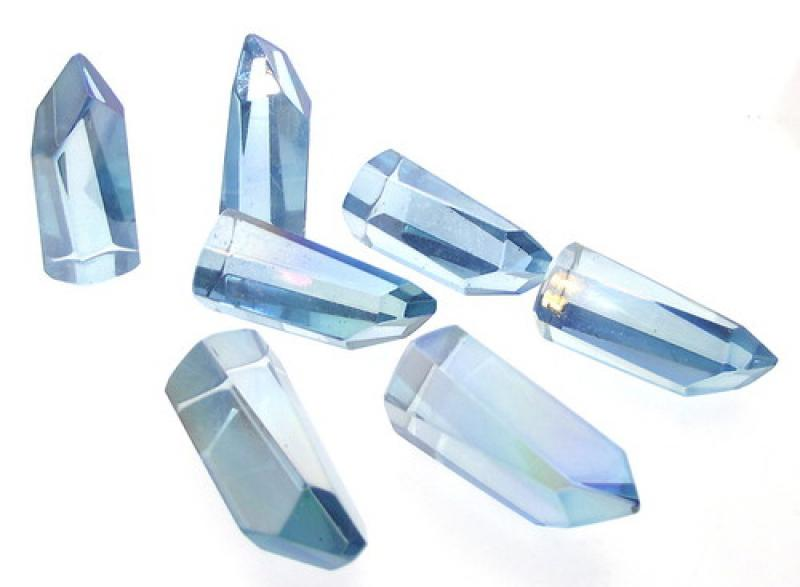 Aqua Aura Quartz Gemstone Point / Tower / Obelisk