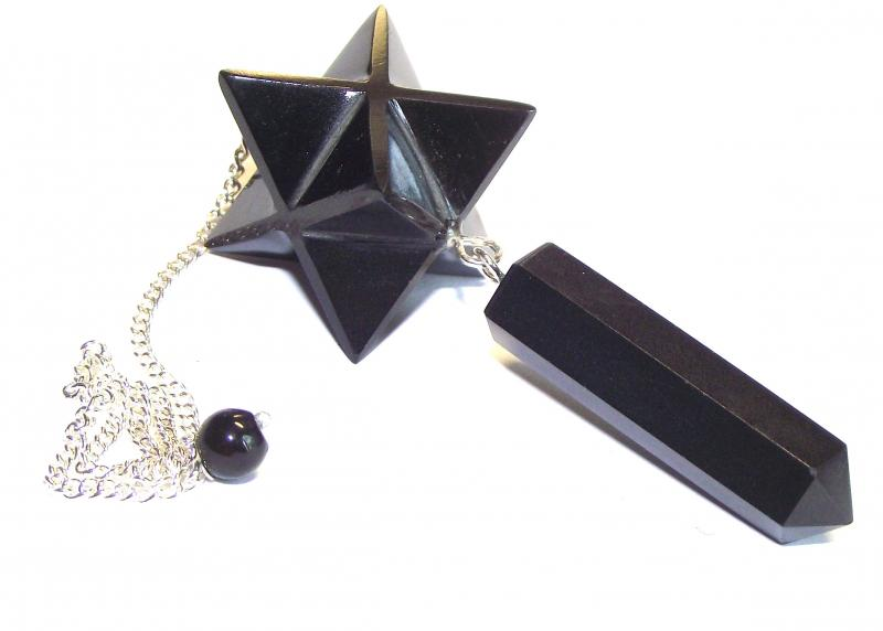 Black Agate Merkaba Point Gemstone / Crystal Pendulum