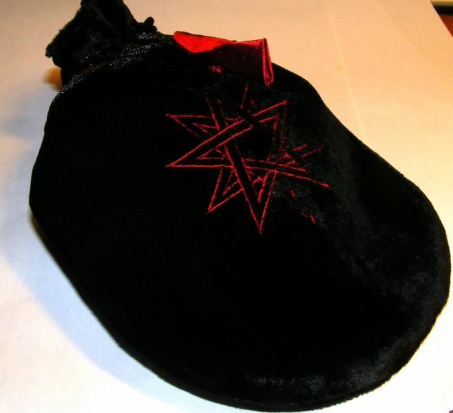 Black Double Pentagram Tarot Bag