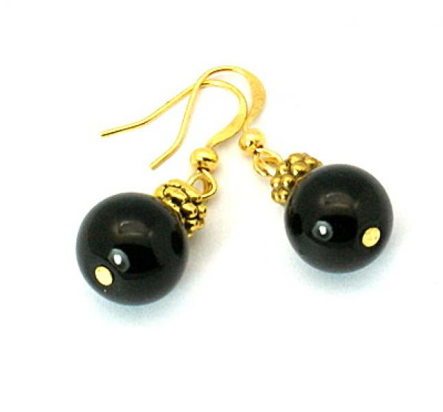 Black Glass Pearl Tibetan Styled Earrings