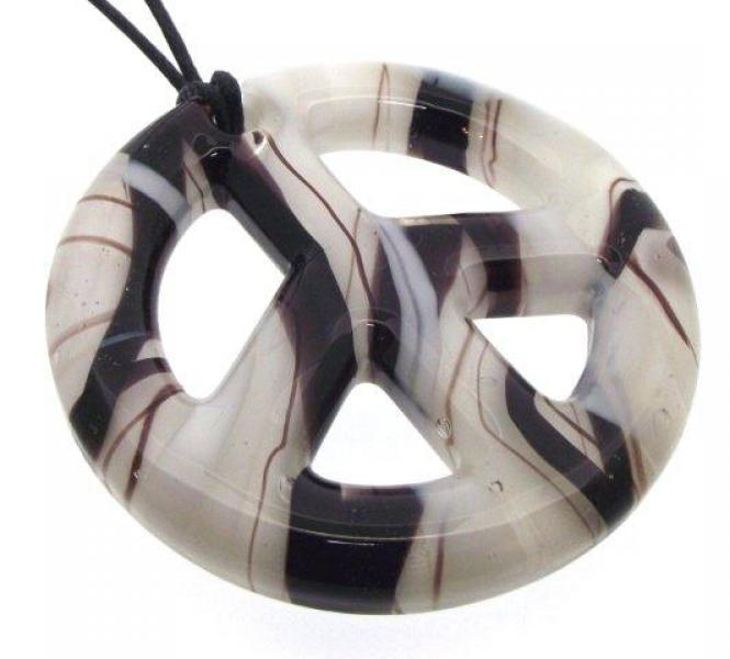 Black and White Glass Peace Sign Pendant
