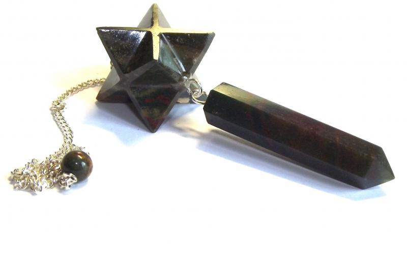 Bloodstone Merkaba Point Gemstone / Crystal Pendulum