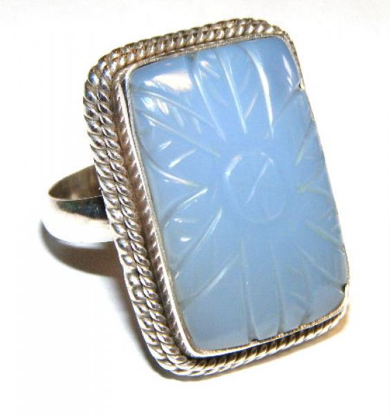 Blue Chalcedonny .925 Sterling Silver Ring - R