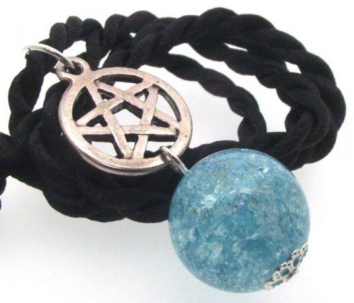 Blue Crackle Quartz Pentacle Pendant