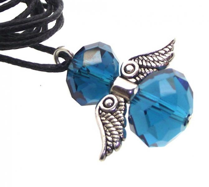 Blue Crystal Guardian Angel of Light Pendant