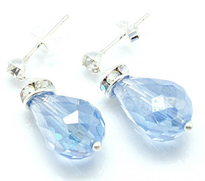 Blue Sparkling Facetted Crystal Earrings
