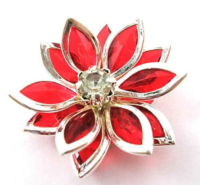 Bright Red Acrylic Flower Focal Point Bead