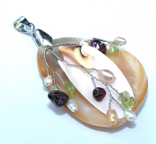 Crafted Natural Shell And Gemstone Pendant