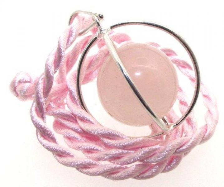 Caged Rose Quartz Gemstone Spinning Sphere Pendant