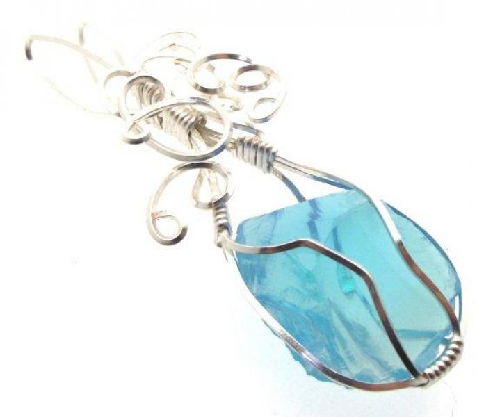 Celestial Blue Andara Crystal Wire Wrapped Pendant 1