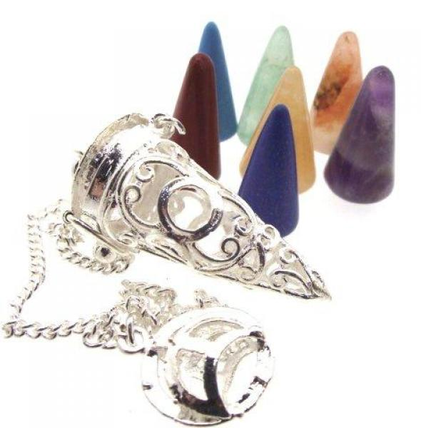 Chakra Cones Triple Moon Cage Pendulum Dowser