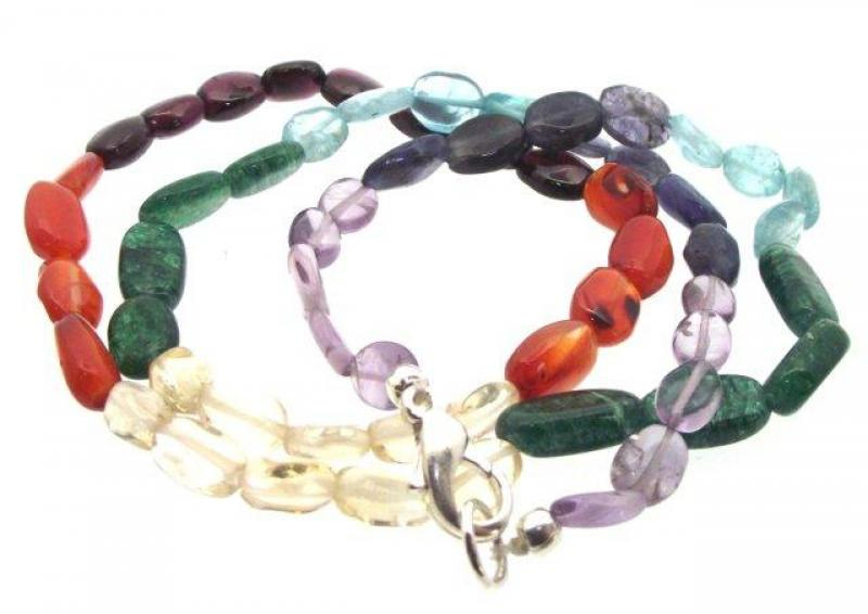 Chakra Oval Polished Tumbled Gemstone Necklace