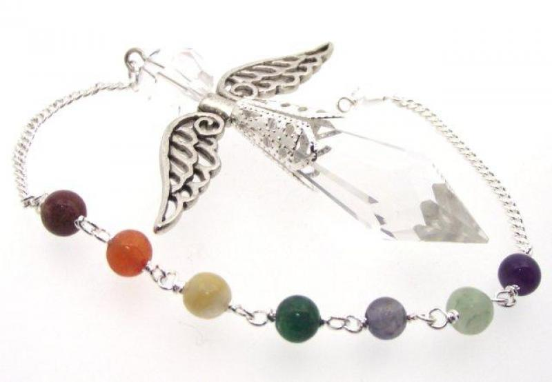 Chakra and Cut Glass Crystal Guardian Angel Pendulum