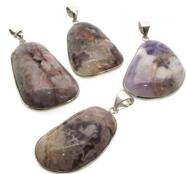 Chevron Amethyst Freeform Gemstone Pendant - SECONDS -