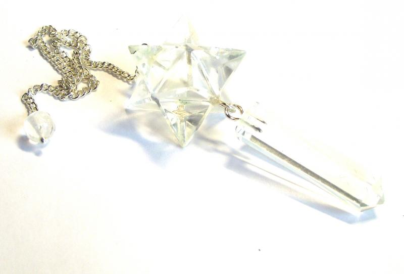 Clear Quartz Merkaba Point Gemstone / Crystal Pendulum