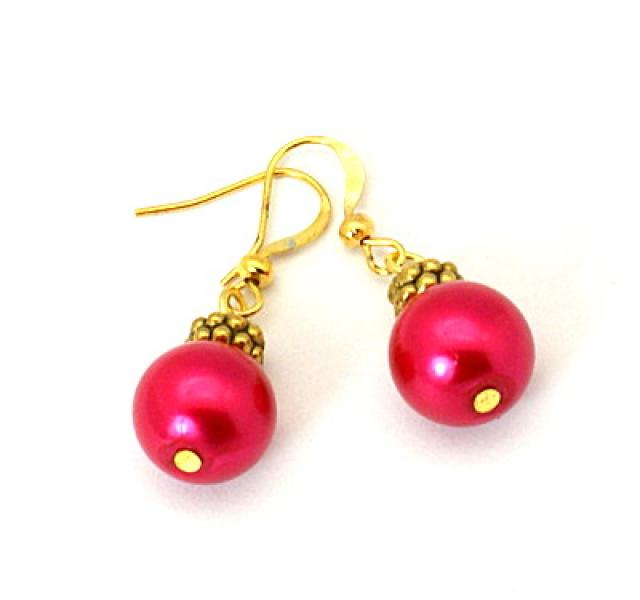 Crimson Pearl Tibetan Styled Earrings