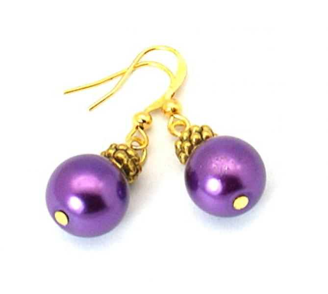 Dark Orchid Glass Pearl Tibetan Styled Earrings