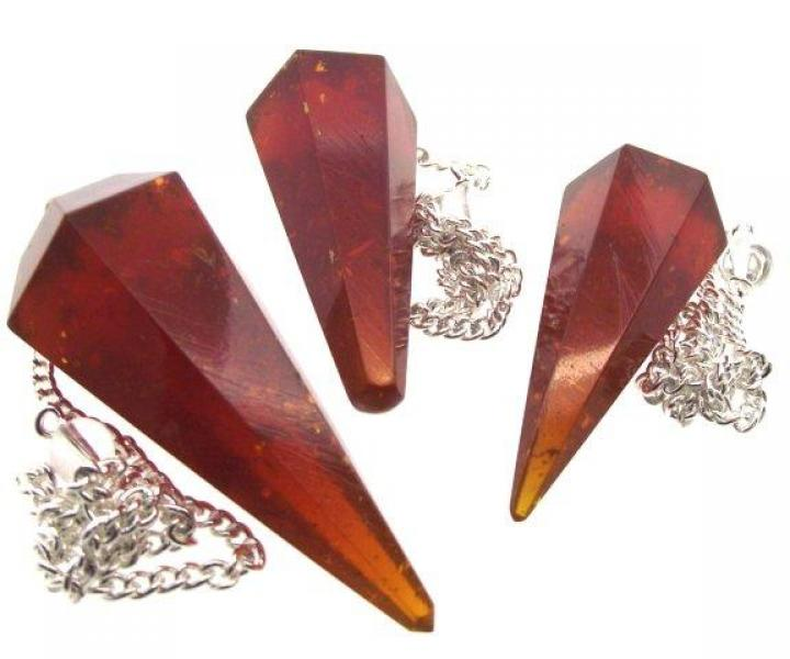 Dark Pressed Amber Divination Pendulum Dowser Crystal