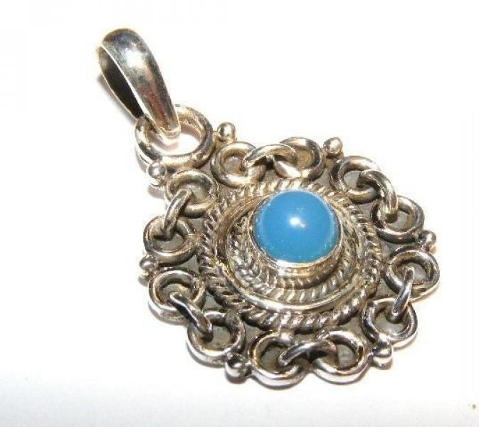Decorative Blue Chalcedonny Sterling Silver Gemstone Pendant