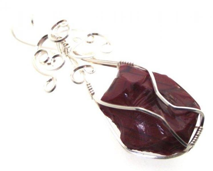 Divine Red Andara Crystal Wire Wrapped Pendant 23