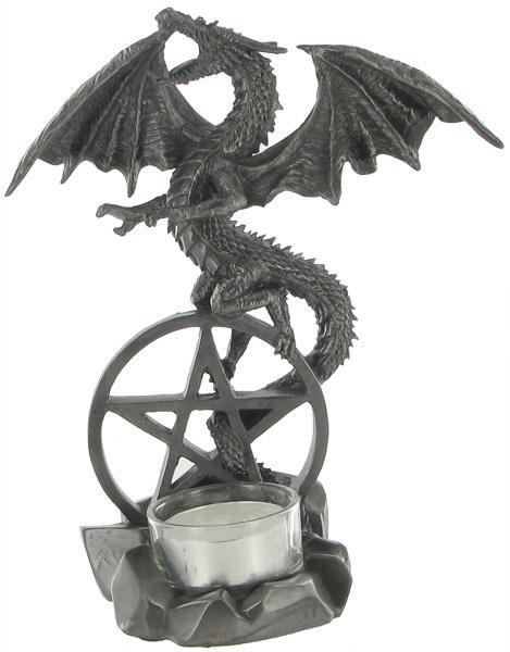 Dragon on Pentagram T-Light Holder - Gun Metal Finish