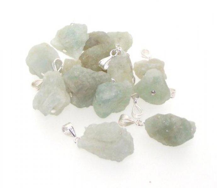 Freeform Aquamarine Gemstone Rock Pendant
