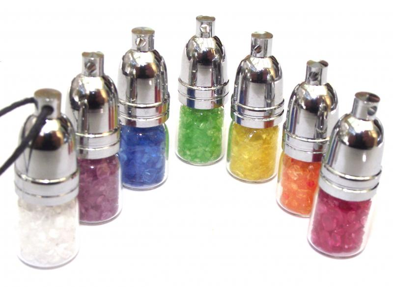 Full Set of 7 Chakra Mojo Bottle Pendants Healing