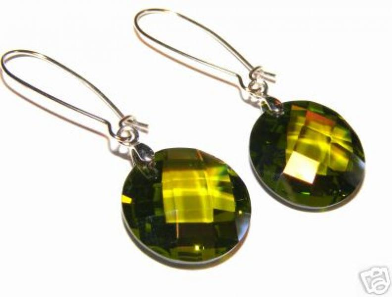 Green Faceted Andara Obsidian Earrings 12