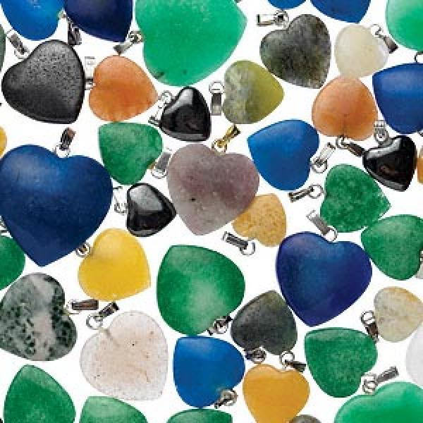 Gemstone Heart Pendant Assortment Pack Of 5