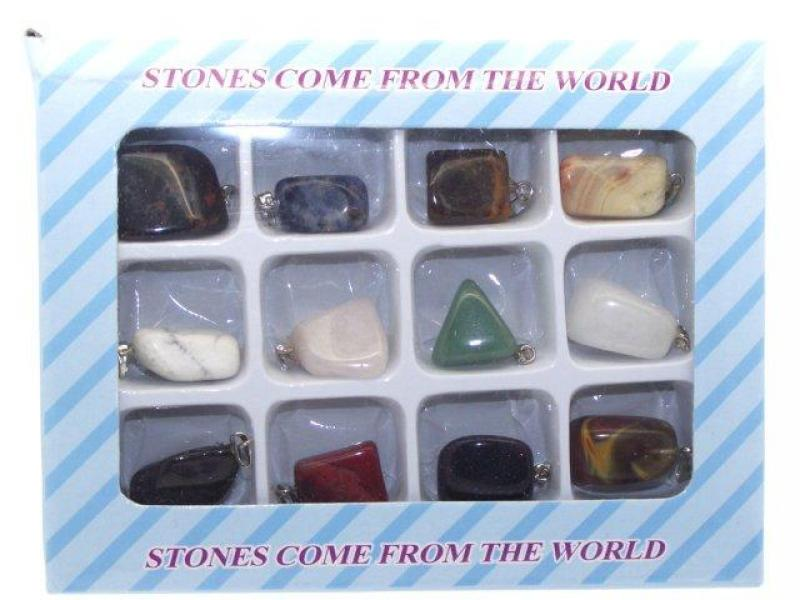 Gift Box of 12 Mixed Tumbled Crystal Gemstone Pendants